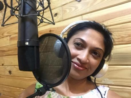 "Reshmi Kumar in studio during the recording of her debut album ""Lost in Your Love"" Photo: Facebook/Reshmi Kumar"